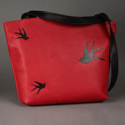 Mary | Red with Embossed Birds